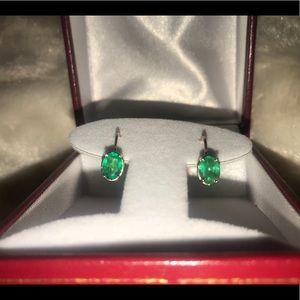 Jewelry - 💯 14K Colombian Emerald 1.60ct YG Dangle Earrings